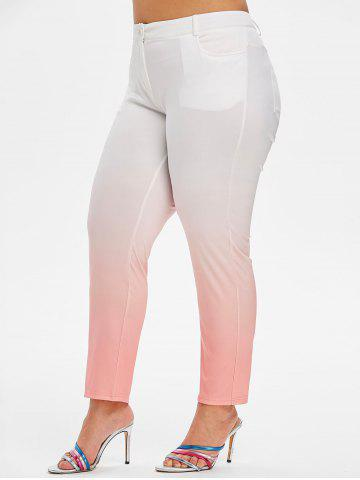 Mid Rise Pockets Ombre Plus Size Skinny Pants