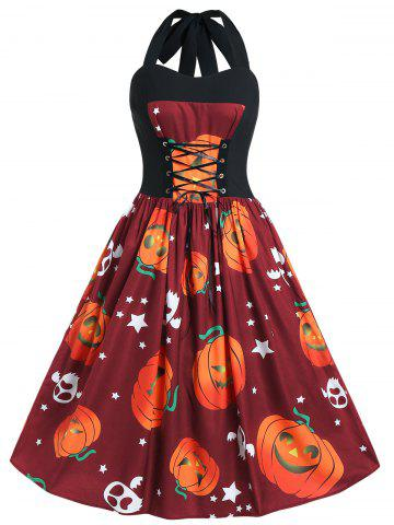 Plus Size Pumpkin Print Halloween Pin Up Dress - RED WINE - 4X