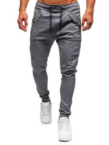 Snap Button Accent Casual Jogger Pants