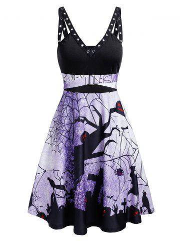 Plunge Rings Fit And Flare Halloween Dress - BLACK - L