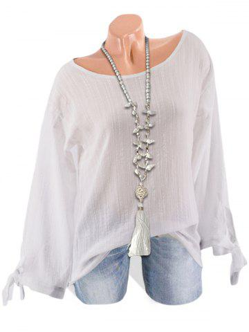 Textured Tie Cuffs Long Sleeve Blouse