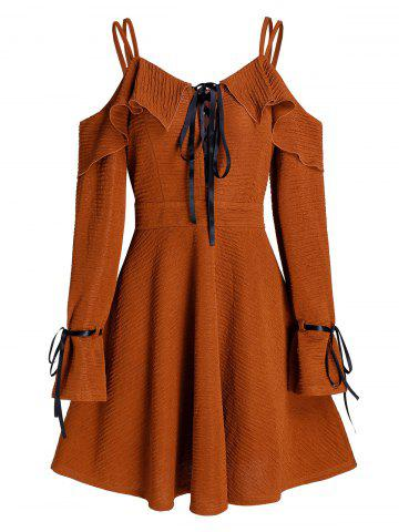 Cold Shoulder Lace Up Zippered Fit And Flare Dress