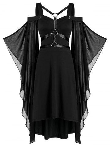 Batwing Sleeve Harness Insert Lace-up High Low Dress - BLACK - S