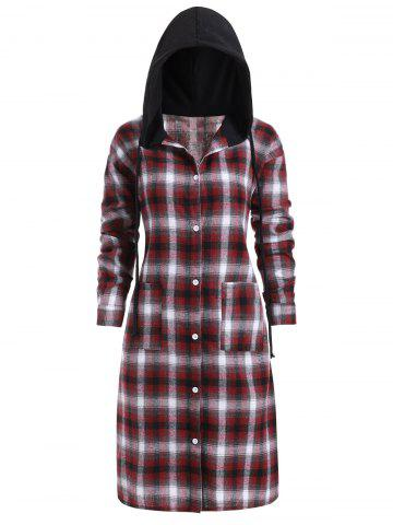 Slit Plaid Pockets Button Up Casual Plus Size Dress