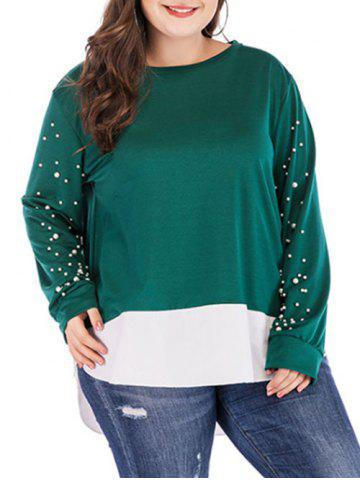 Plus Size Beading Embellished High Low Sweatshirt - SEA GREEN - 1X