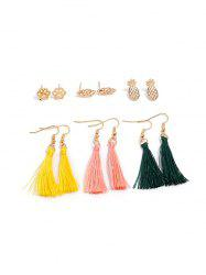 6 Piece Pineapple Leaf Paw Print Thread Tassel Earrings Set -