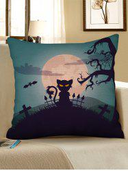Halloween Moon Night Animal Print Decorative Pillowcase -