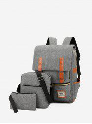 3 Piece Buckle Strap Large Capacity Canvas Backpack Set -