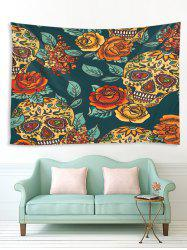Halloween Flowers and Skull Print Tapestry Wall Hanging Art Decoration -