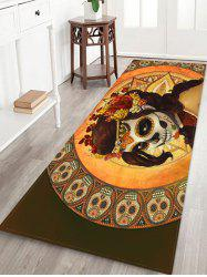 Halloween Skull Witch Printed Floor Rug -