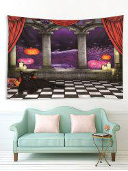 Halloween Night Corridor Cat Print Tapestry Wall Hanging Art Decoration -