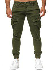 Plain Zip Fly Cargo Jogger Pants -