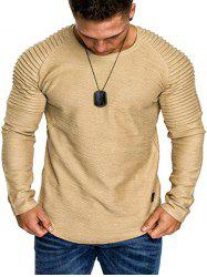 Solid Color Pleated Raglan Sleeve Curved Hem Tee -