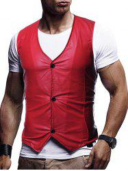 Button Up Buckle Back Business Vinyl Vest -
