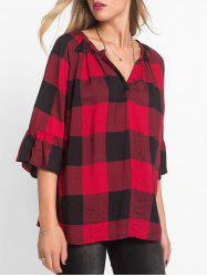 Plaid V-notch Raglan Sleeve Top -