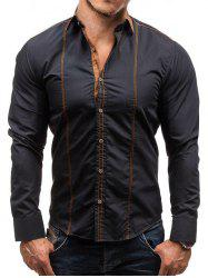 Faux Suede Contrast Collar Button Up Shirt -