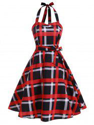 Plaid Shirred Lace-up Halter Vintage Dress -