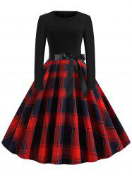 Plaid Belted Vintage Flare Dress -