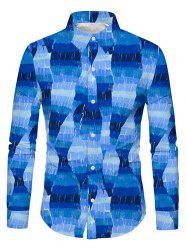 Casual Printed Long-sleeved Button Up Shirt -