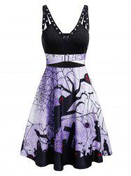 Plunge Rings Fit And Flare Halloween Dress -