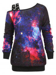 Grommet Cold Shoulder Galaxy Print Plus Size Sweatshirt -