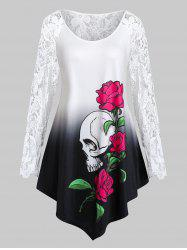 Plus Size Halloween Skull Flower Crochet Asymmetrical Tunic Tee -