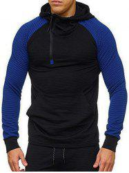 Color Blocking Splicing Raglan Sleeve Half Zipper Hoodie -