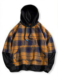 Plus Size Plaid Print Drop Shoulder Kangaroo Pocket Hoodie -
