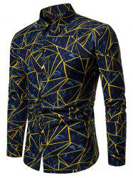 Plus Size Geometric Print Button Up Long Sleeve Shirt -