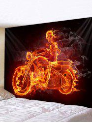 Halloween Fire Skeleton Motorcyclist Print Tapestry Wall Hanging Art Decoration -