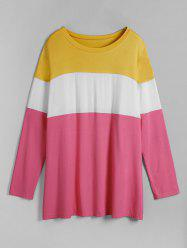 Plus Size Contrast Color Block Long Sleeve Tunic Tee -