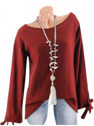 Textured Tie Cuffs Long Sleeve Blouse -