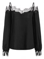 Lace Panel Cold Shoulder Long Sleeves Blouse -
