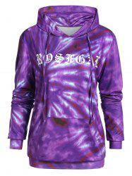 Plus Size Printed Long Sleeve Pocket Hoodie -