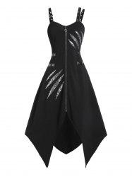 Asymmetrical Zippered Glitter Dress -