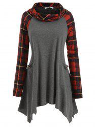 Pockets Buttoned Cowl Neck Plaid Plus Size Top -