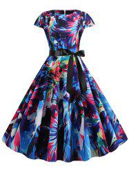Watercolor Print Round Neck Belted A Line Dress -