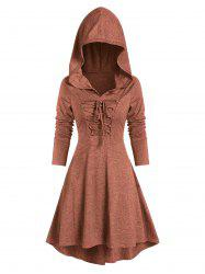 Lace-up High Low Hooded Heathered Gothic Dress -