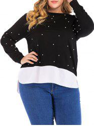 Plus Size Faux Pearl Embellished High Low Sweatshirt -