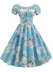 Plus Size Floral Print Ruched Vintage Swing Dress -