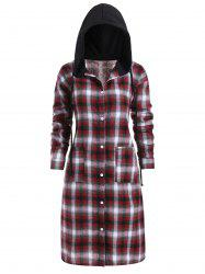 Slit Plaid Pockets Button Up Casual Plus Size Dress -
