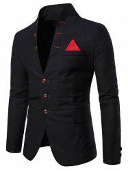 Color Spliced Button Long Sleeves Blazer -