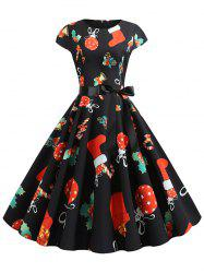 Santa Claus Gifts Cap Sleeves Belted Christmas Dress -