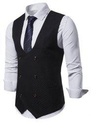 Plaid Printed Double Breasted Waistcoat -