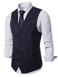 Striped Printed Single-breasted Waistcoat -