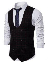 Plaid Printed Double Breasted Casual Waistcoat -