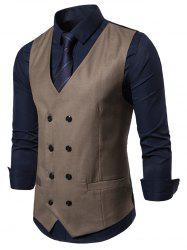 Solid Color V-Neck Double Breasted Waistcoat -