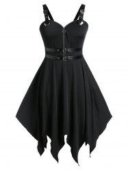 Plus Size Handkerchief Buckle PU Trims Gothic Halloween Dress -