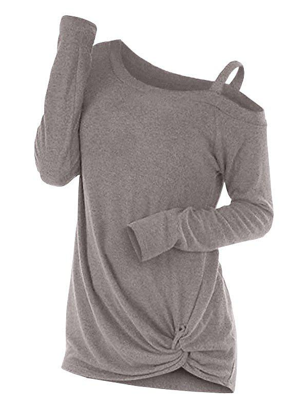 Knotted Skew Neck Sweater, Light khaki