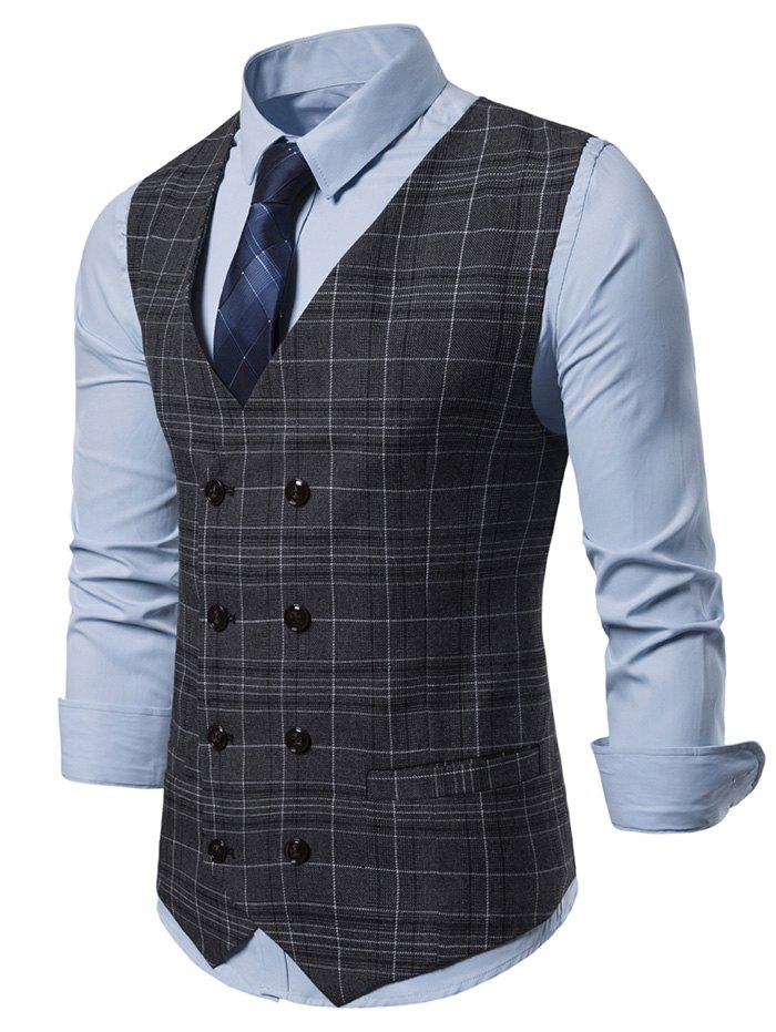 Buy Casual Plaid Pattern Double Breasted Waistcoat